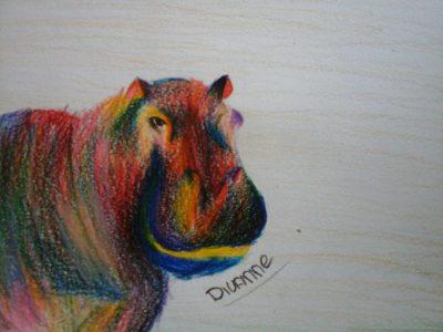 kleurrijke nijlpaard